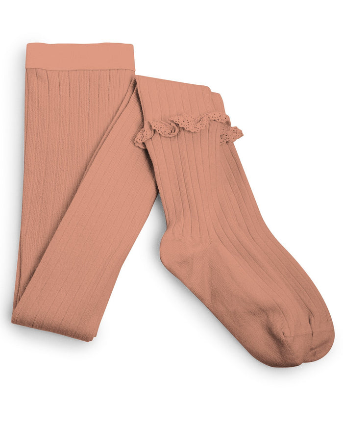 Little collegien accessories ruffle trim ribbed tights in bois de rose