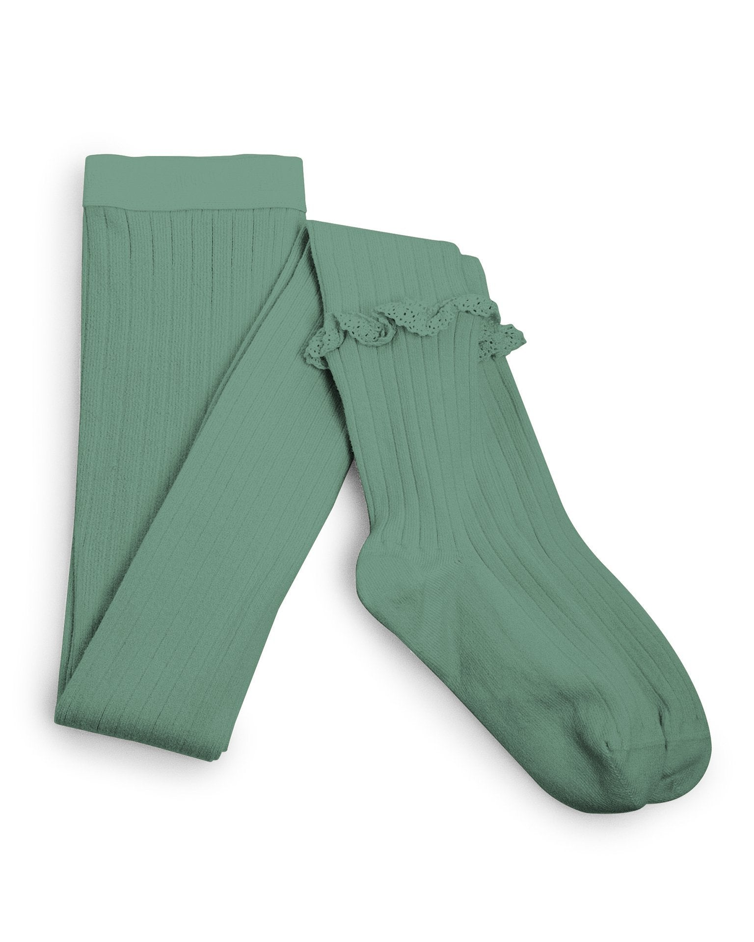 Little collegien accessories ruffle trim ribbed tights in celadon