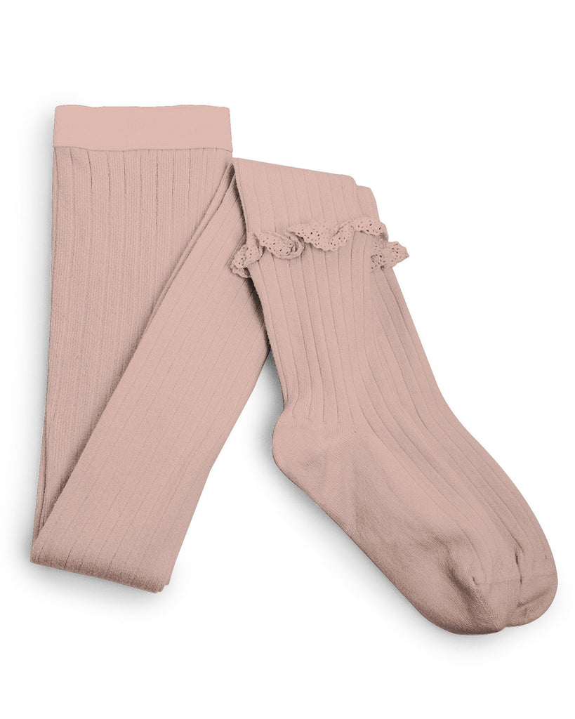 Little collegien accessories ruffle trim ribbed tights in vieux rose