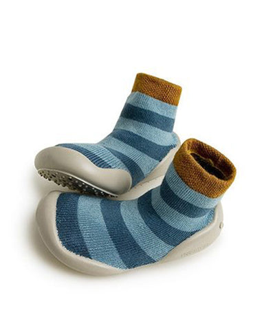 Little collegien accessories slipper socks in blue stripes