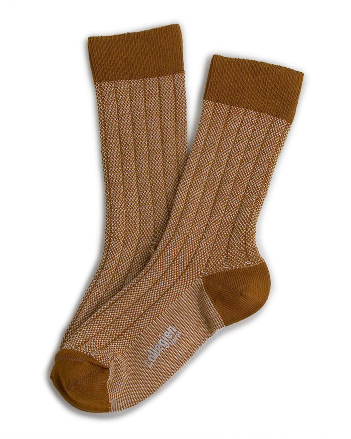 Little collegien accessories 18/20 two tone ankle socks in moutarde de dijon