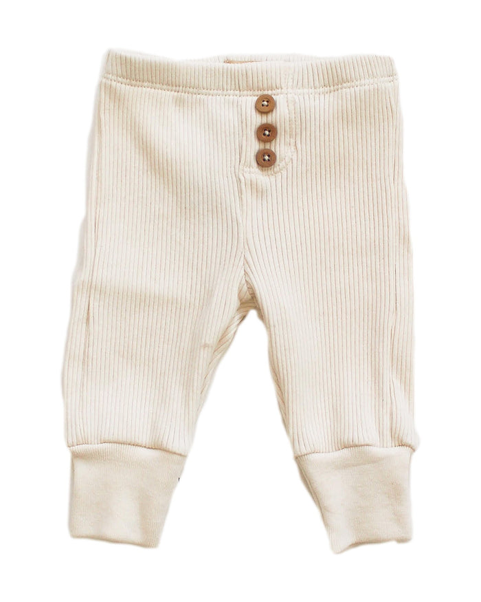 Little fin + vince layette button pant in vanilla