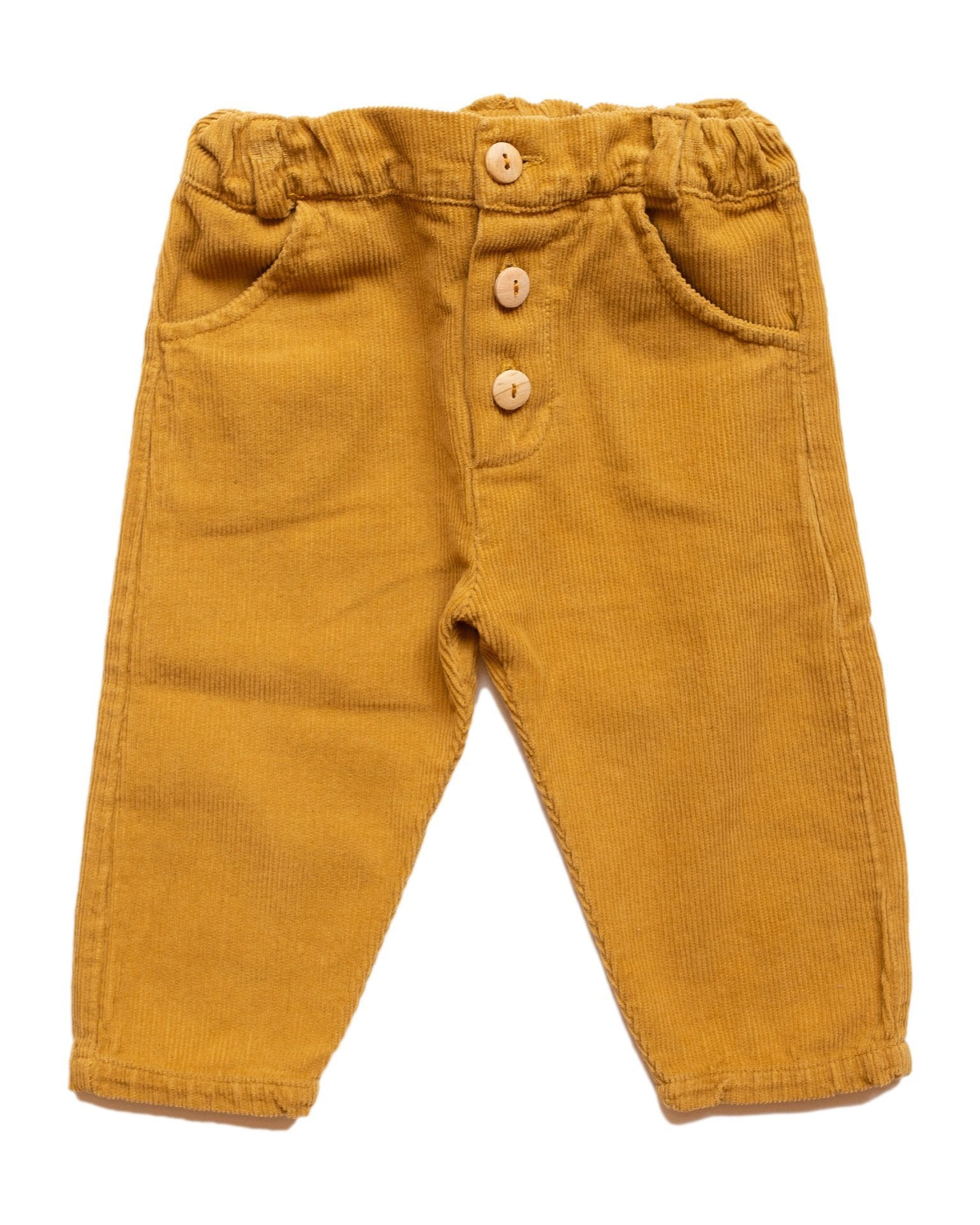 Little fin + vince baby boy button trouser in mustard