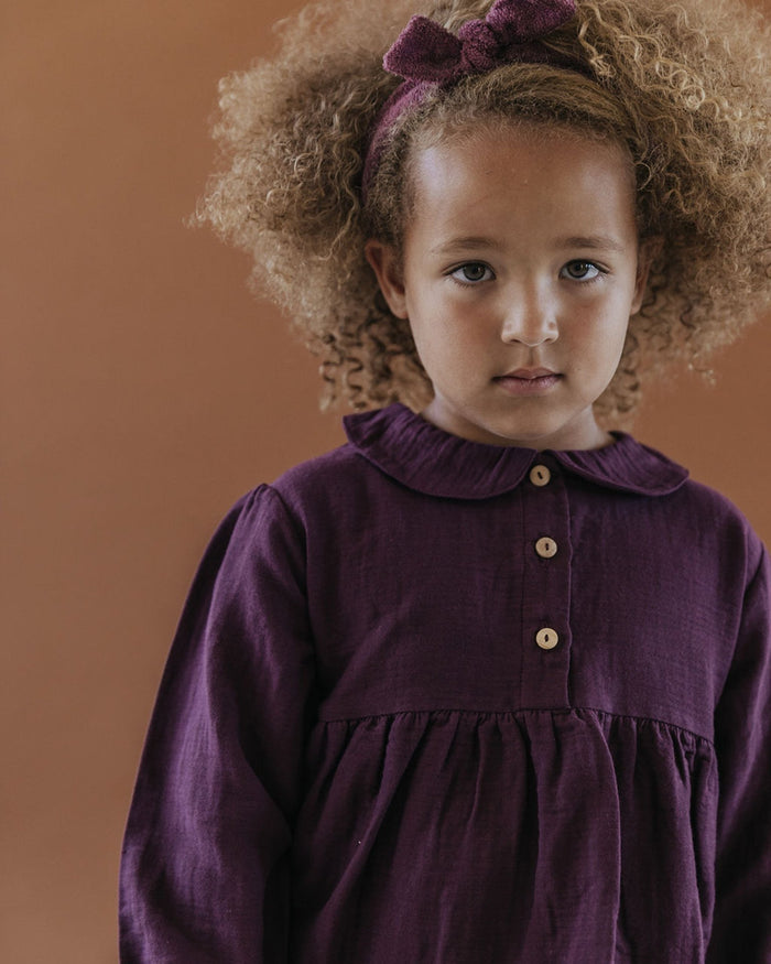 Little fin + vince girl collar blouse in eggplant
