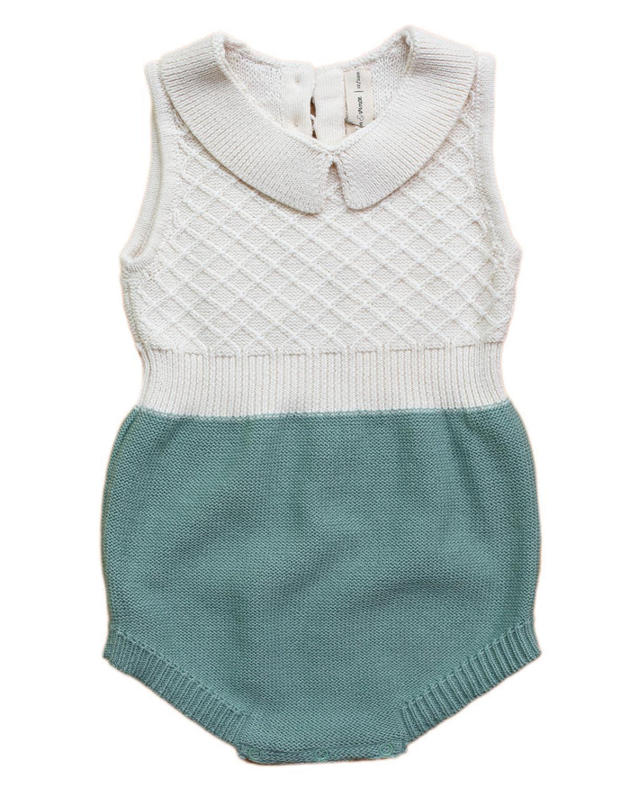Little fin & vince baby girl 0-3 collar knit romper in cream + moss