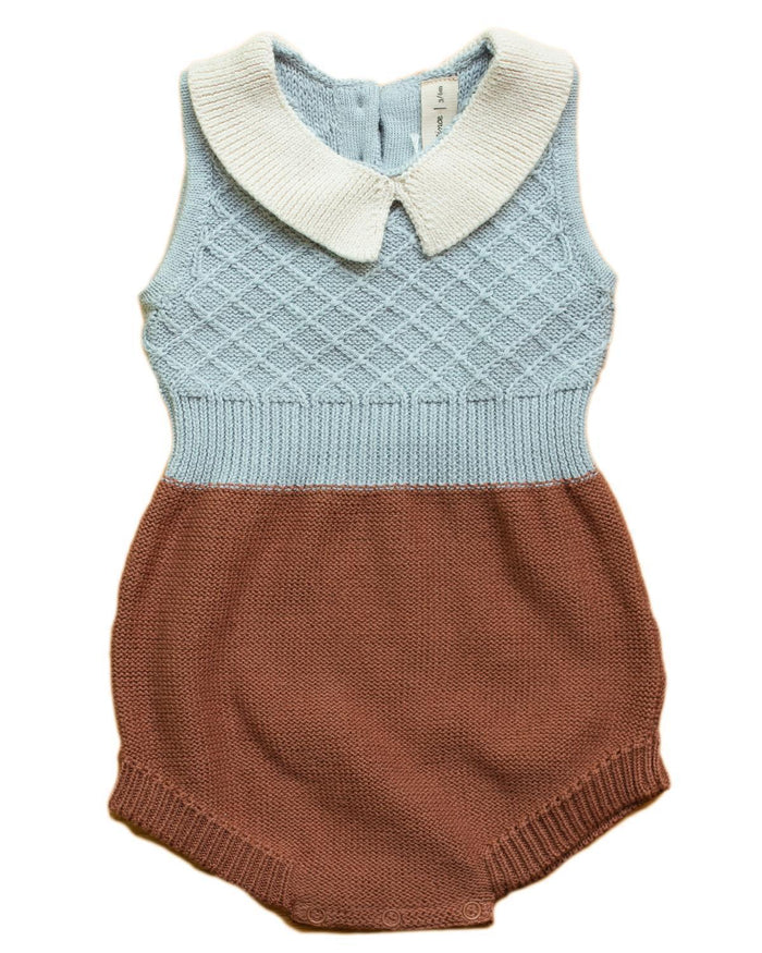 Little fin & vince baby girl 0-3 collar knit romper in night blue + terracotta