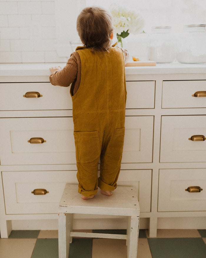 Little fin + vince baby boy corduroy overall in mustard