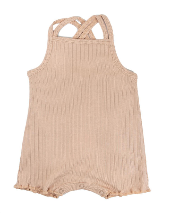 Little fin + vince baby girl 0-3 double strap playsuit in rose dust