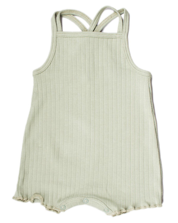 Little fin + vince baby girl 0-3 double strap playsuit in sage