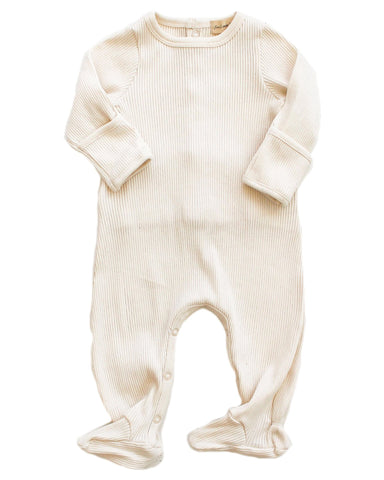 Little fin + vince layette footed snap romper in vanilla