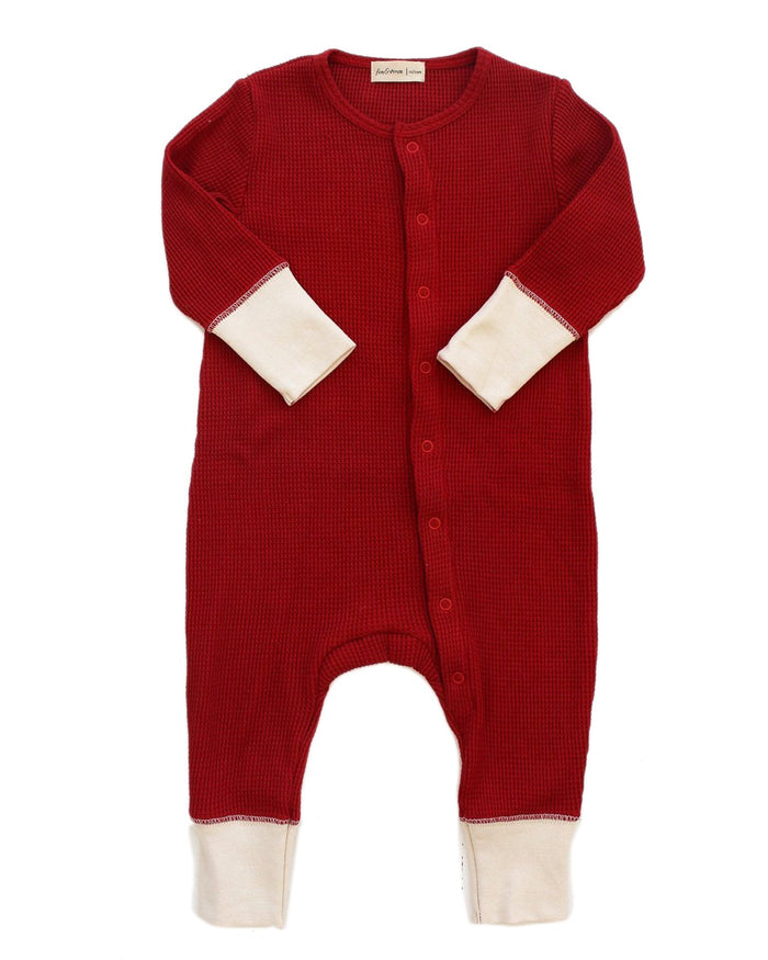 Little fin + vince baby boy long john in crimson