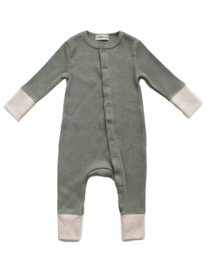 Little fin + vince baby boy long john in sage