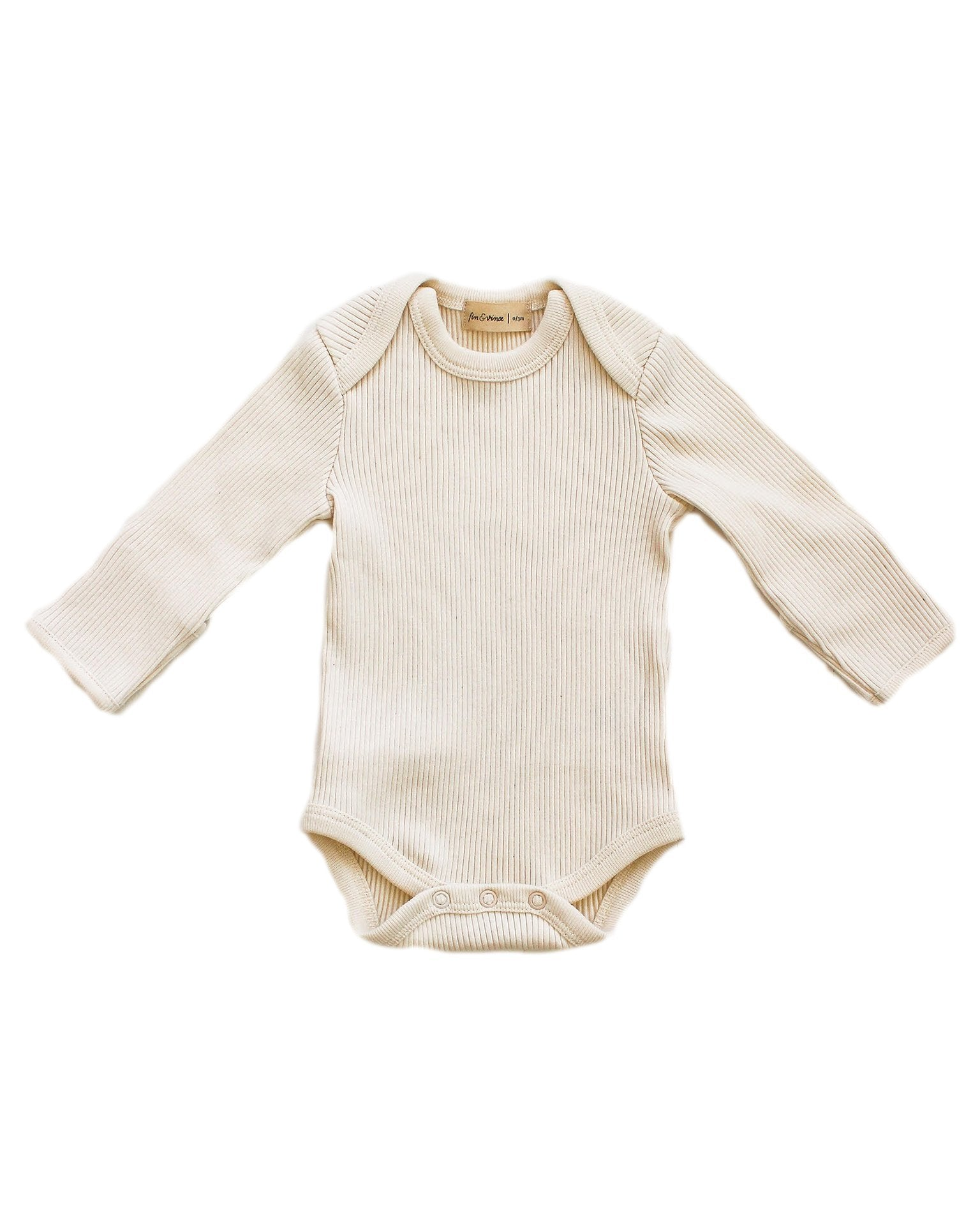 Little fin + vince layette long sleeve onesie in vanilla