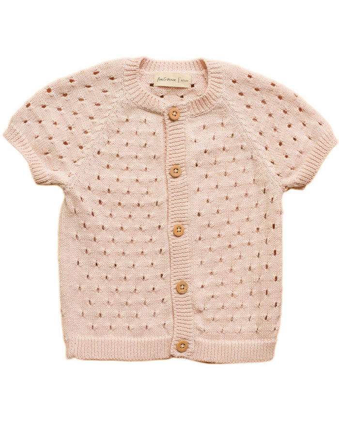 Little fin & vince girl 2-3 pointelle knit cardigan in blush