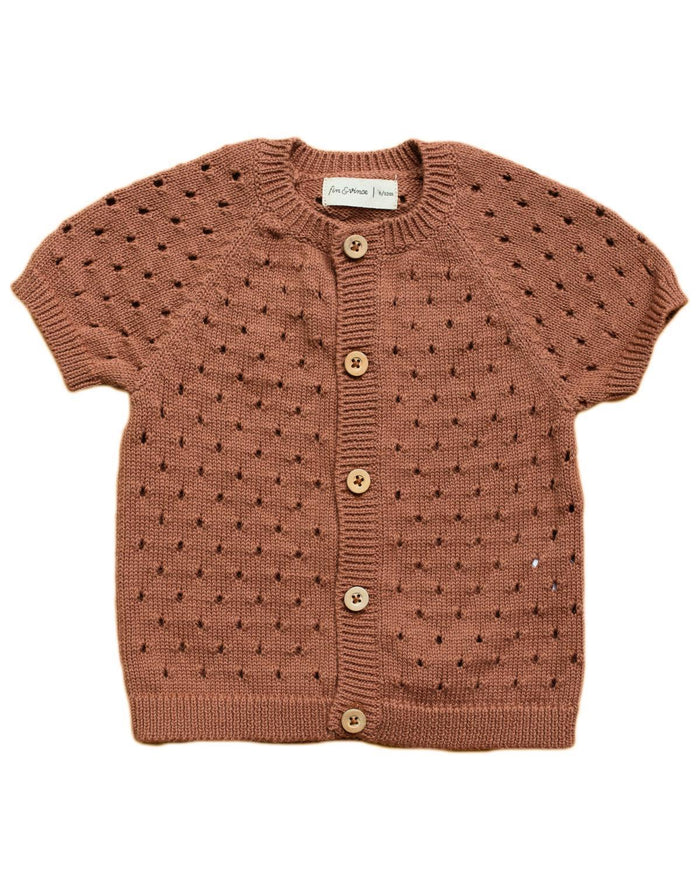 Little fin & vince girl 6-12 pointelle knit cardigan in terracotta