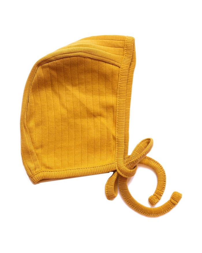 Little fin + vince baby accessories primary bonnet in mustard