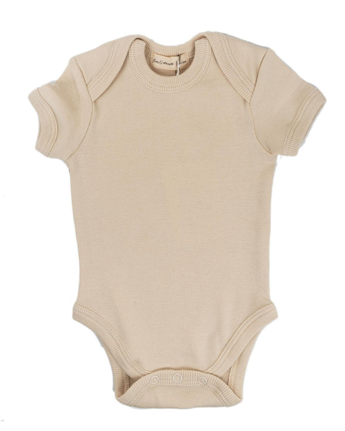 Little fin + vince baby boy 0-3 primary onesie in oatmeal