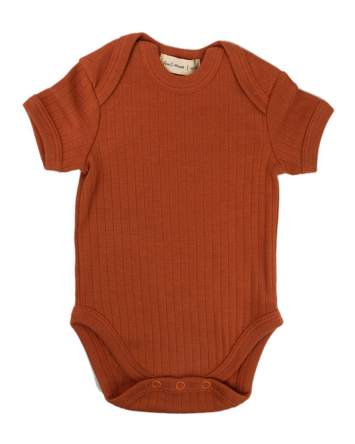 Little fin + vince baby boy 0-3 primary onesie in spice