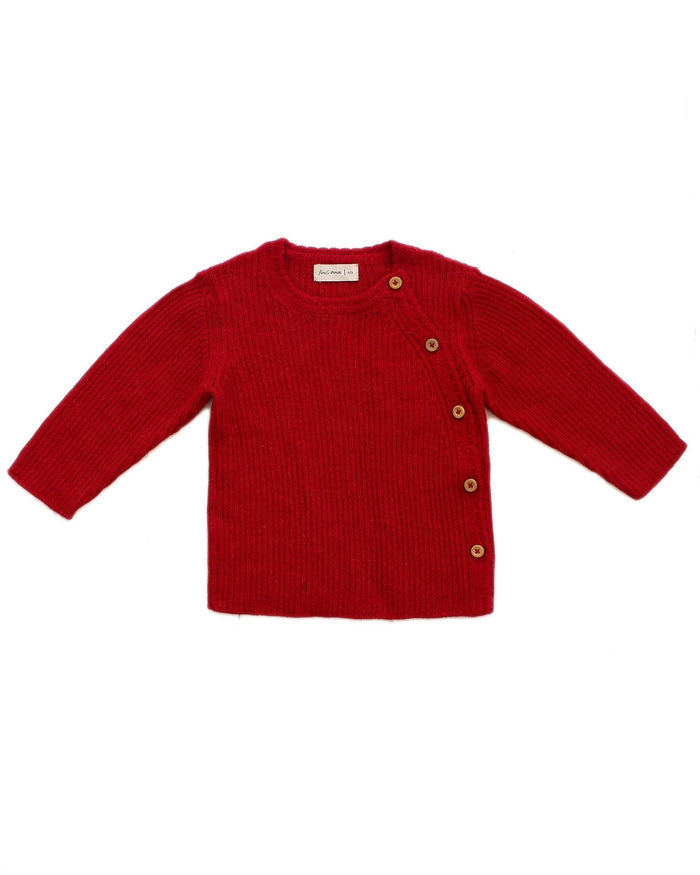 Little fin + vince baby boy ribbed alpaca sweater in crimson