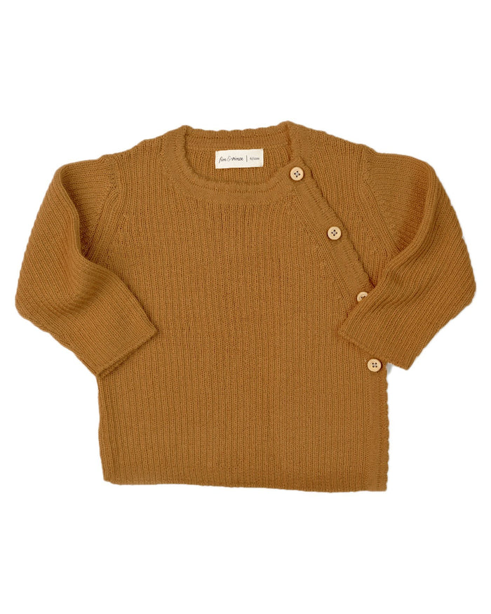 Little fin + vince baby boy ribbed alpaca sweater in honeycomb