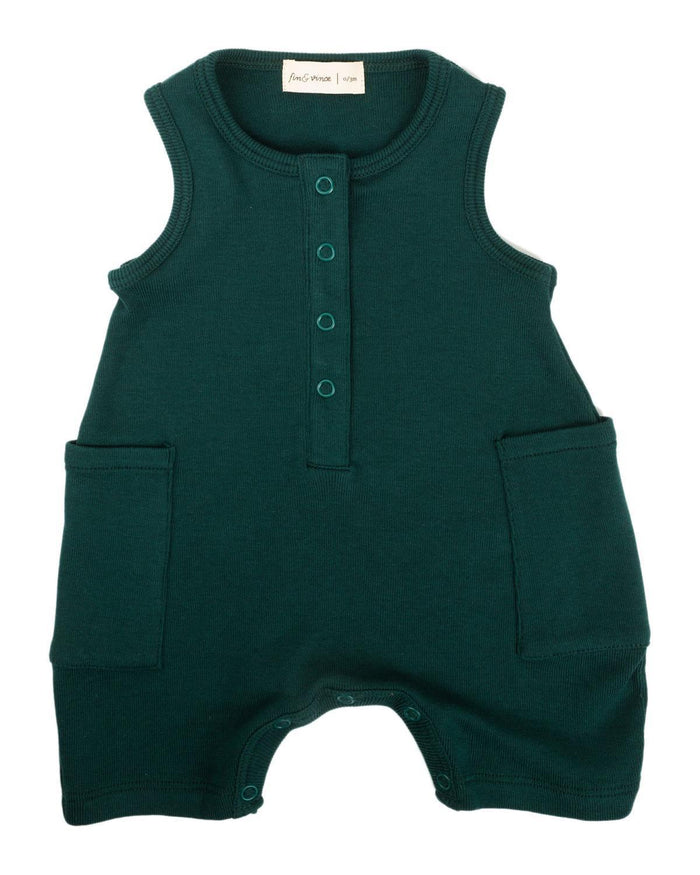 Little fin + vince baby boy 0-3 short jumpsuit in forest