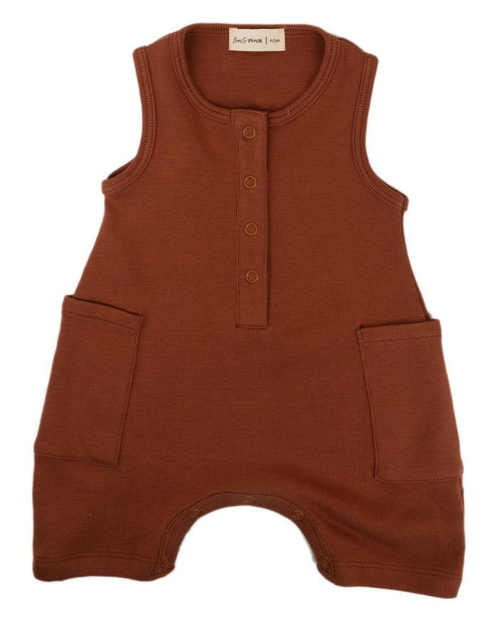 Little fin + vince baby boy 0-3 short jumpsuit in spice