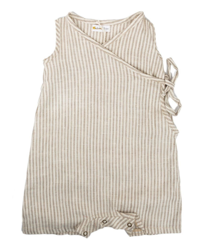 Little fin + vince baby boy 0-3 short kimono romper in flax stripe