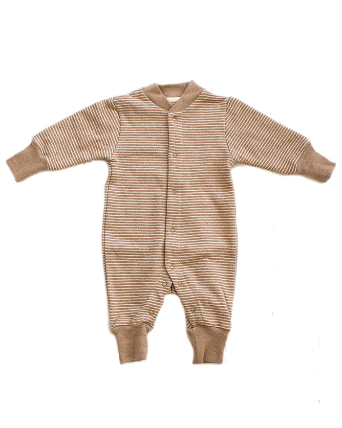 Little fin + vince baby boy stripe baby romper in camel stripe