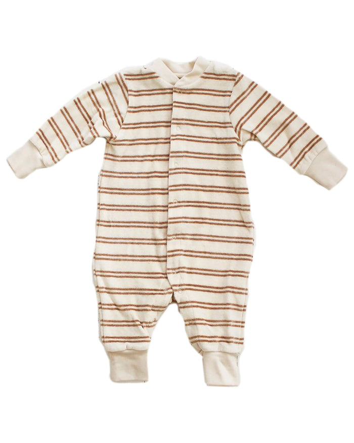 Little fin + vince baby boy stripe baby romper in oatmeal camel stripe