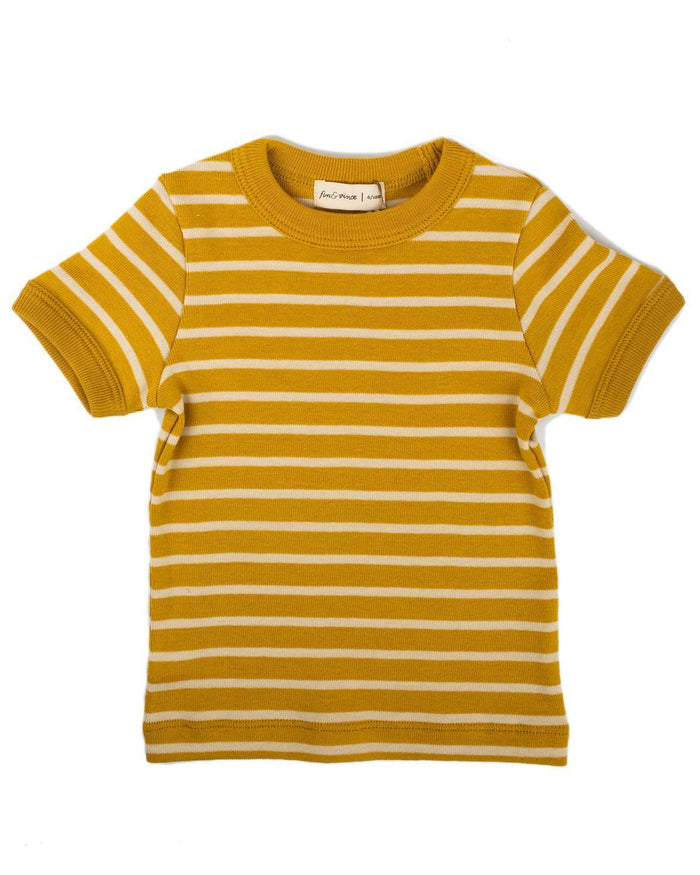 Little fin + vince boy 6-12 vintage tee in honeycomb stripe