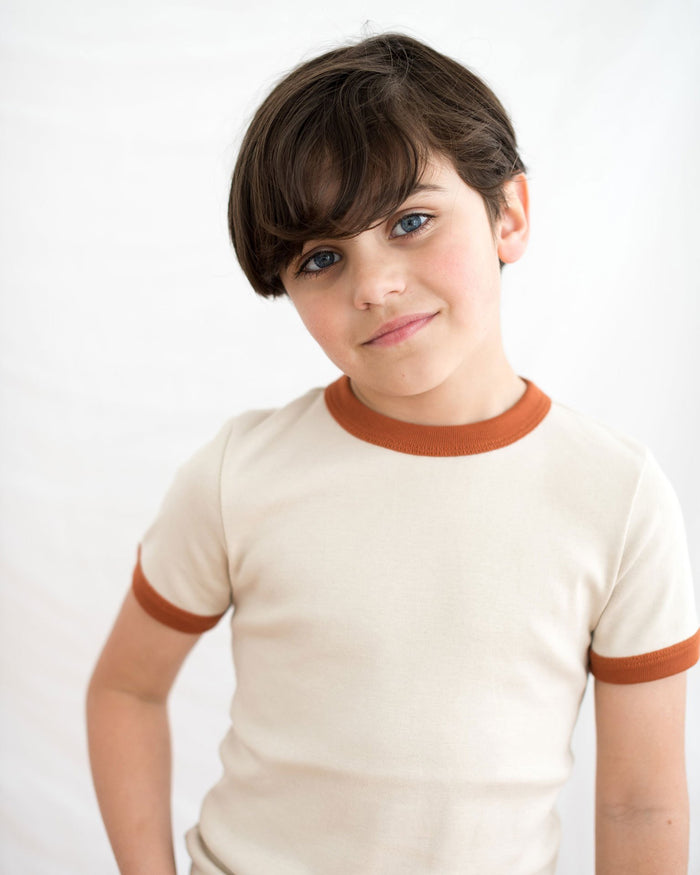 Little fin + vince boy 6-12 vintage tee in oatmeal + spice