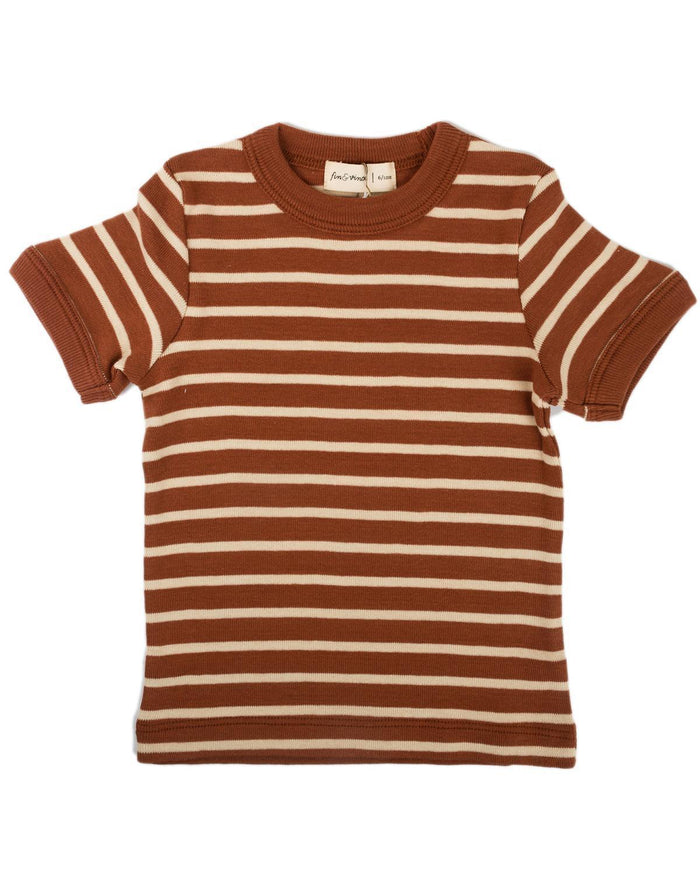 Little fin + vince boy 6-12 vintage tee in spice stripe