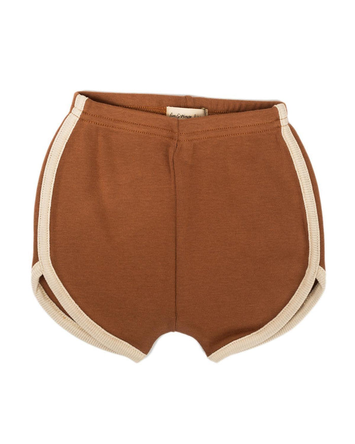 Little fin + vince boy 6-12 vintage track shorts in cinnamon