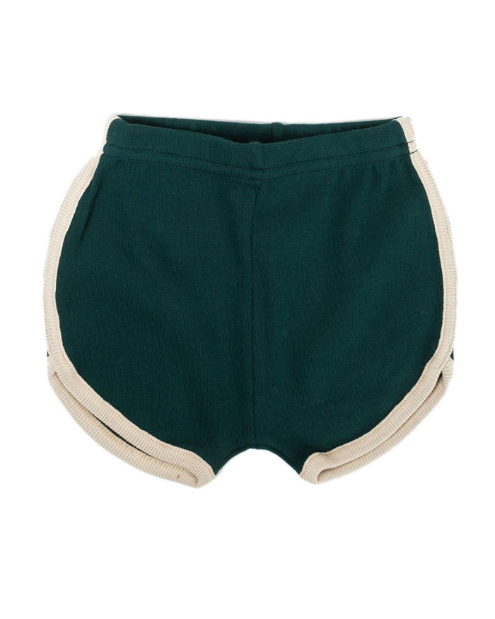 Little fin + vince boy 6-12 vintage track shorts in forest
