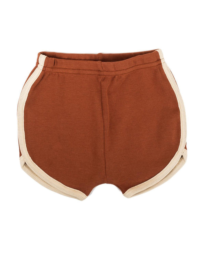 Little fin + vince boy 6-12 vintage track shorts in spice red