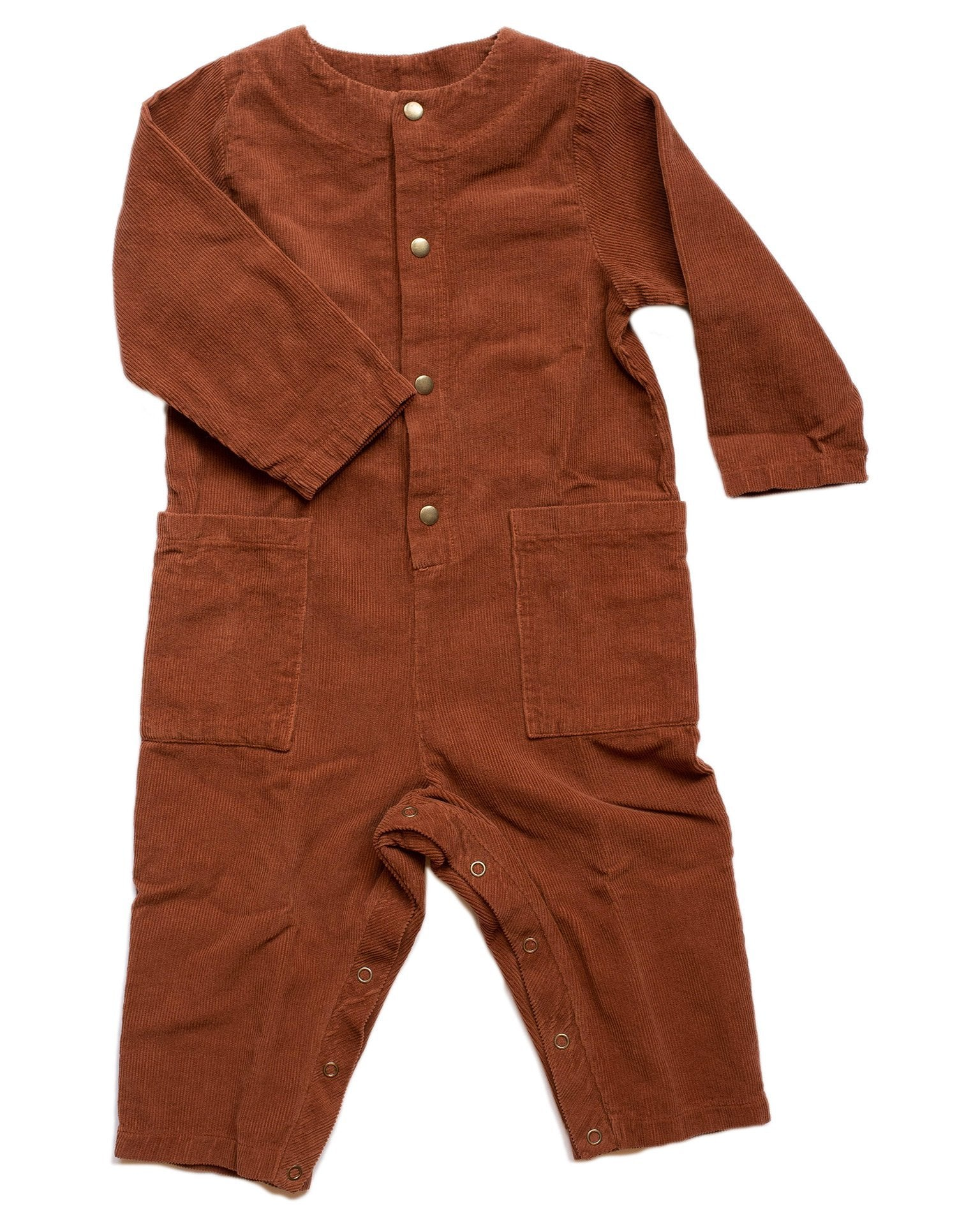Little fin + vince boy voyage romper in hazelnut