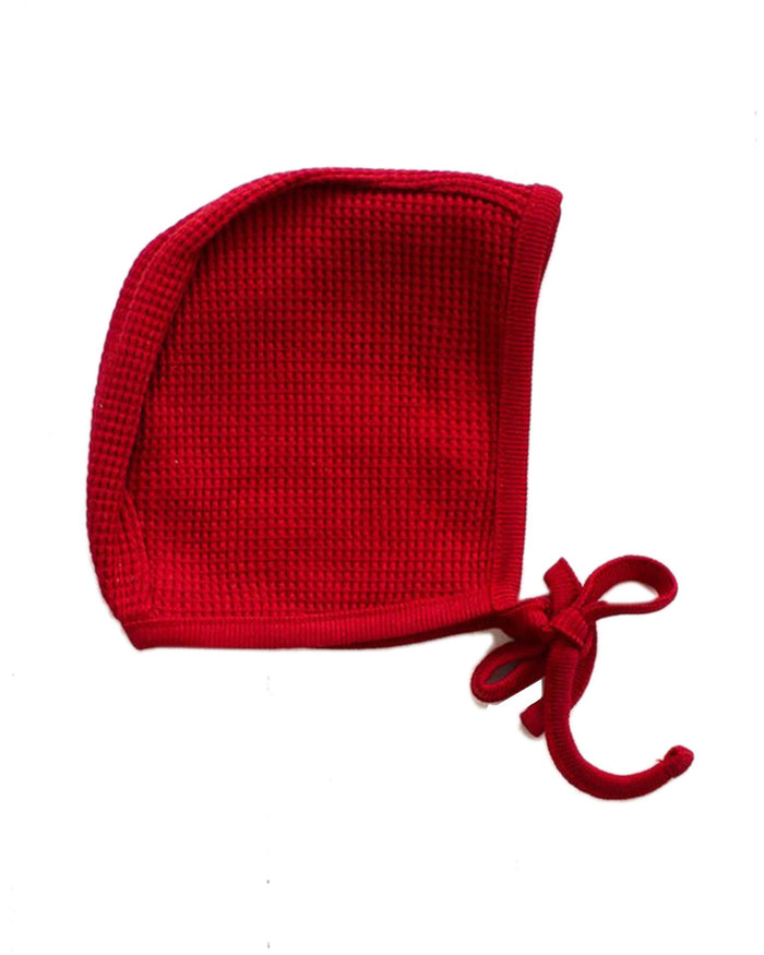 Little fin + vince baby accessories waffle bonnet in crimson