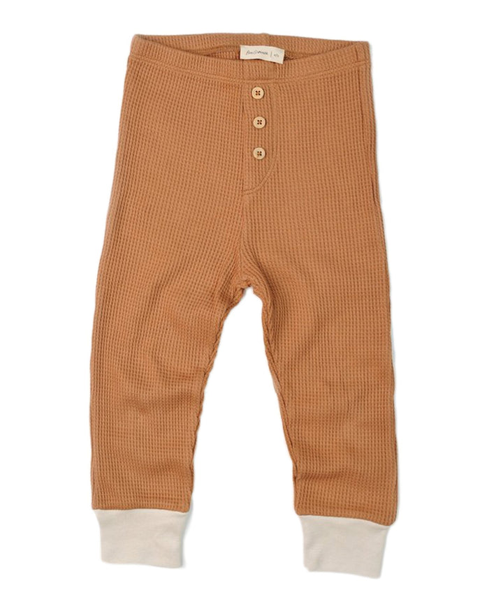 Little fin + vince baby boy waffle button pant in camel