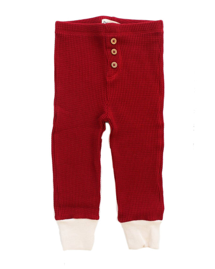 Little fin + vince baby boy waffle button pant in crimson