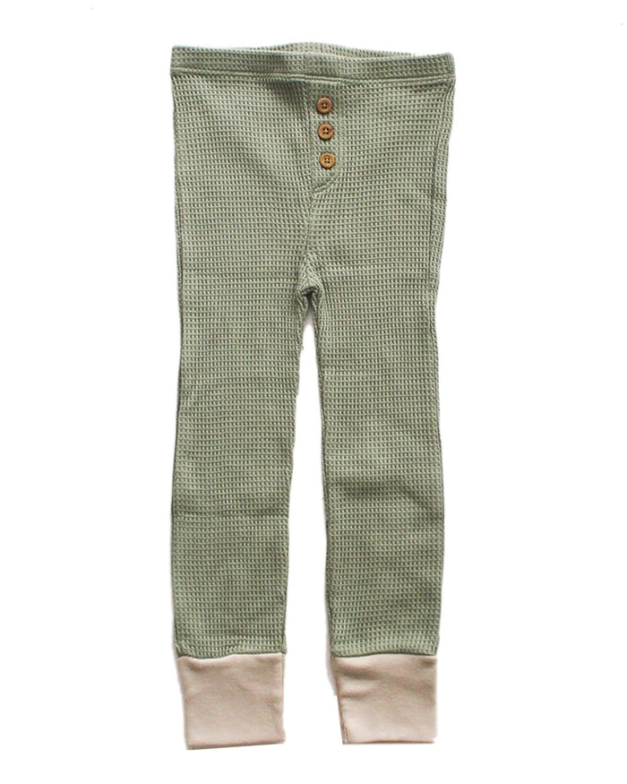 Little fin + vince baby boy waffle button pant in sage