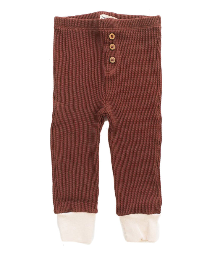 Little fin + vince baby boy waffle button pant in spice