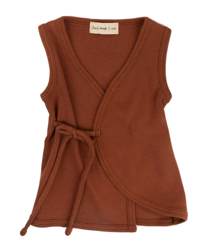 Little fin + vince baby boy 0-3 wrap tank in spice