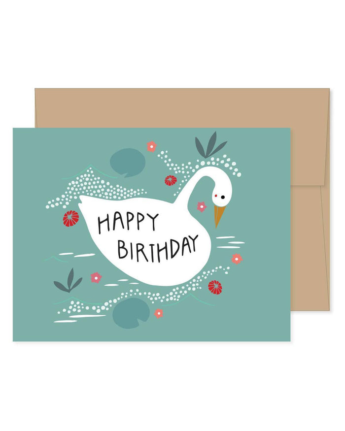 Little gingiber paper+party Swan Birthday Card