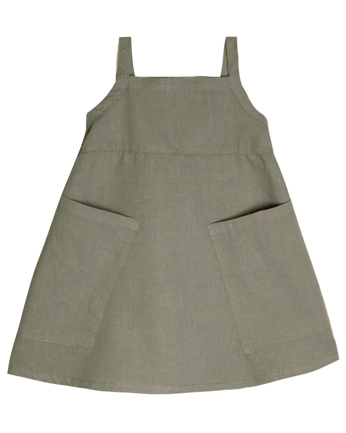Little go gently nation girl apron dress in thyme