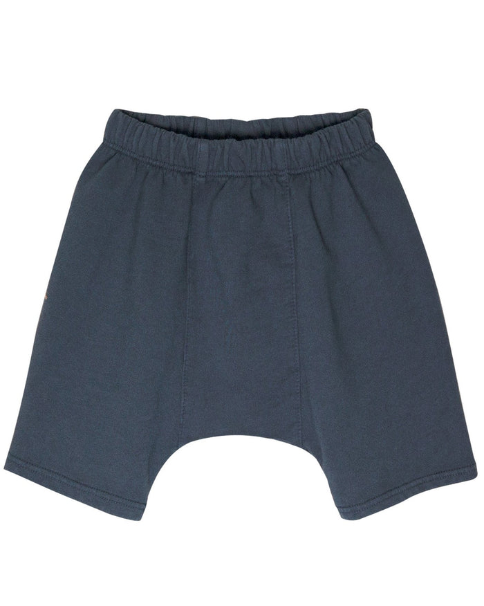 Little go gently nation girl french terry panel short in indigo