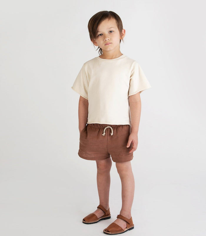 Little go gently nation girl french terry tee in natural