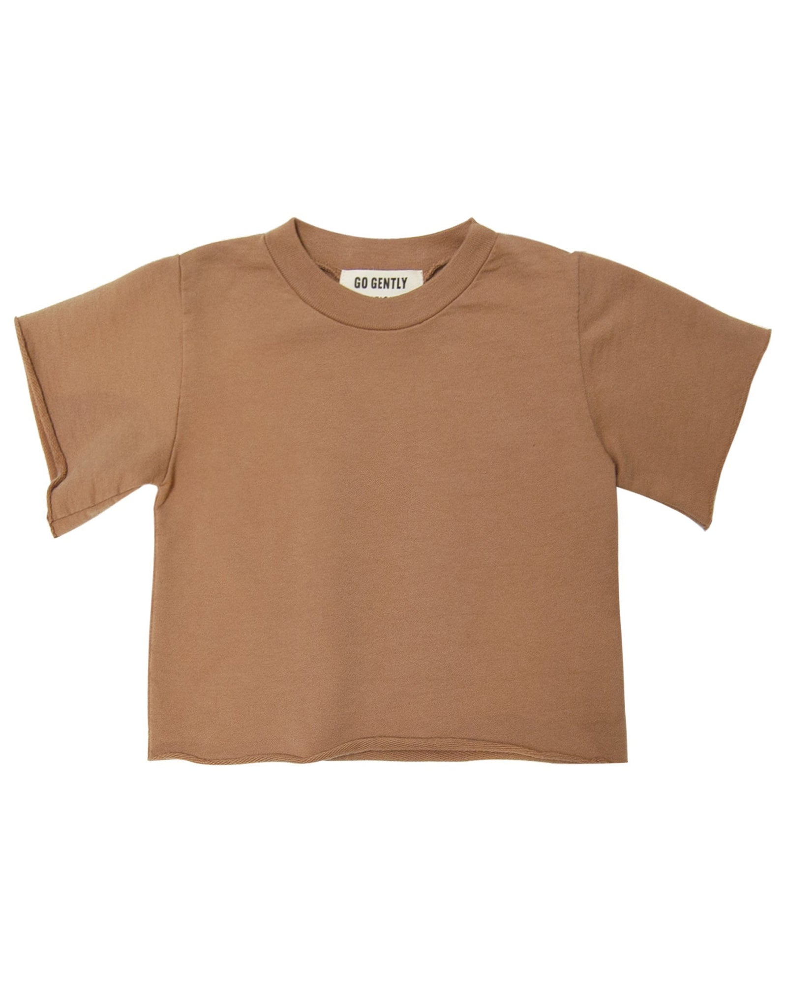 Little go gently nation girl french terry tee in tanin