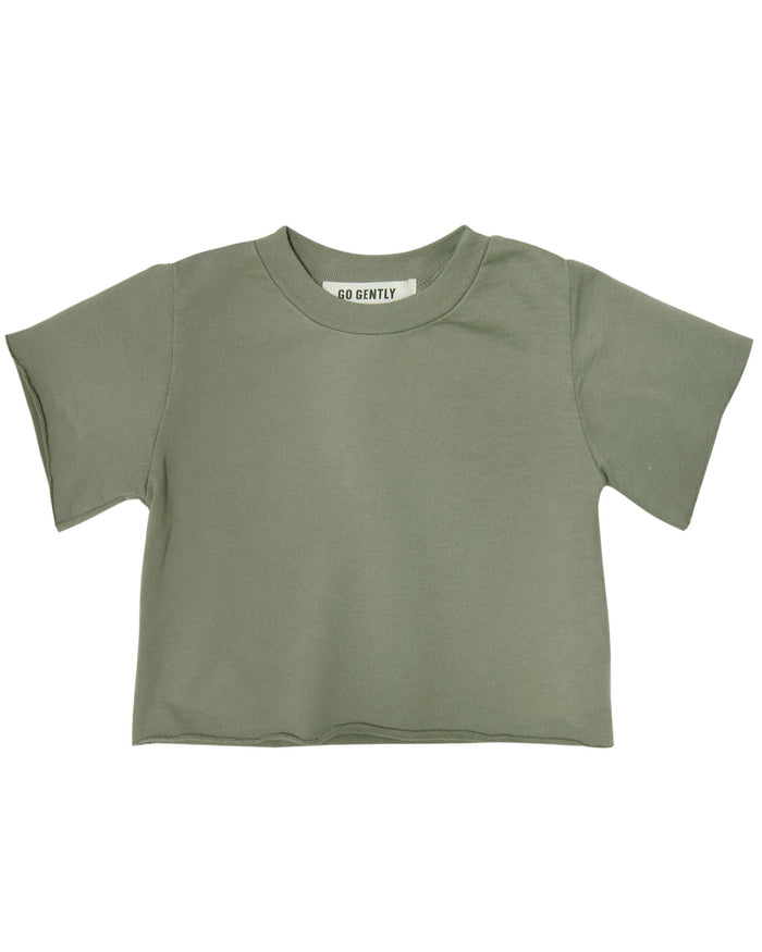 Little go gently nation girl french terry tee in thyme