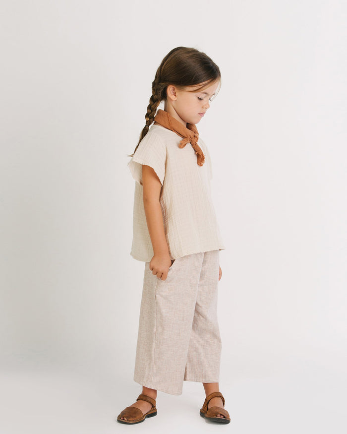 Little go gently nation girl 3-6 gauze flutter blouse