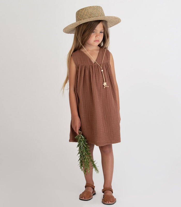 Little go gently nation girl gauze frock in hazelnut